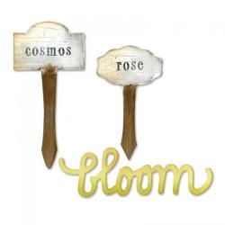 Fustella Targhette e scritta Bloom Sizzix Bigz Die - Phrase, Bloom & Plant Markers 658445