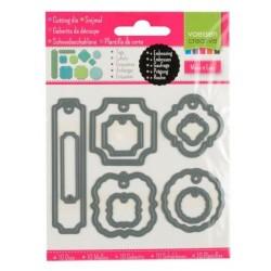 Set 10 Fustelle Etichette TAGS - Vaessen Creative 3624-001 Fustelle Targhette con Foro