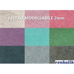 Feltro Modellabile 2mm Renkalik - Foglio 30x30cm - Vari Colori