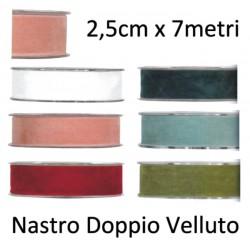 Nastro Velluto - 2,5cm x 7 metri - Doppio Velluto Vari Colori