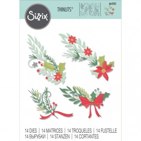 Fustella Rametti Natalizi Sizzix • Thinlits die set Festive banners 664705