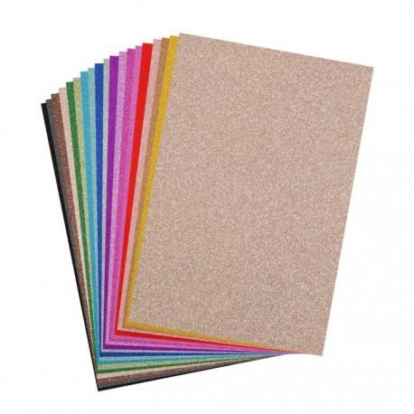 Cartoncino Glitter Vari Colori - 40 pezzi formato A4 250g Vaessen Creative
