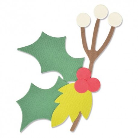 Fustella Natale Agrifoglio Sizzix • Bigz die Christmas nature 664719