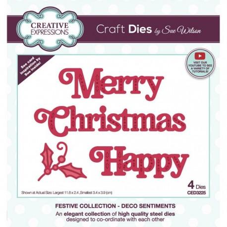 """Fustella Creative Expressions Natale con testo """"Merry Christmas"""" + scritta Happy + agrifoglio CED3225"""