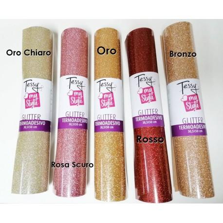 Termoadesivo Glitter - Vinile Termico Glitter Adesivo - Foglio 30,5x50cm - TESSY Termico Glitterato
