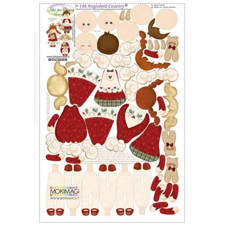 Pannello Angeli Country - Idee per Creare - P-146 Pannello Angioletti di Natale